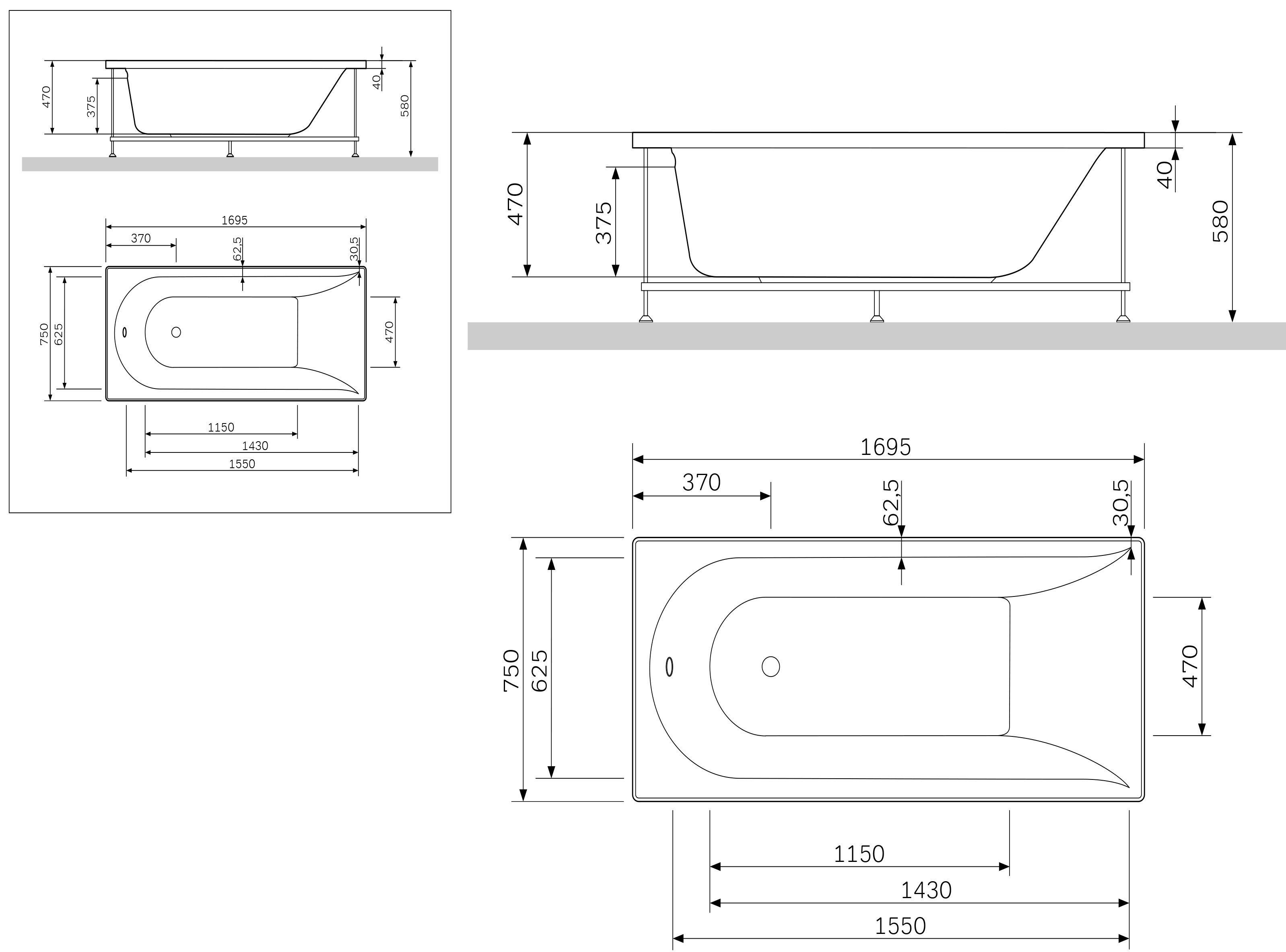W5AA-170-075W-R64 Inspire каркас для ванны Inspire A0 170x75 см, шт