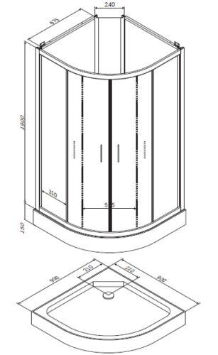 W85C-001-090GT Joy, Душевая кабина без г/м 900х900х2160, стекло прозрачное, профиль графитовый