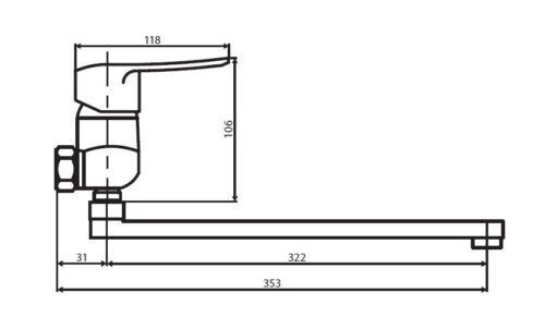 D5095000 Ultra смеситель для ванны и душа с универсальным изливом и душевым набором