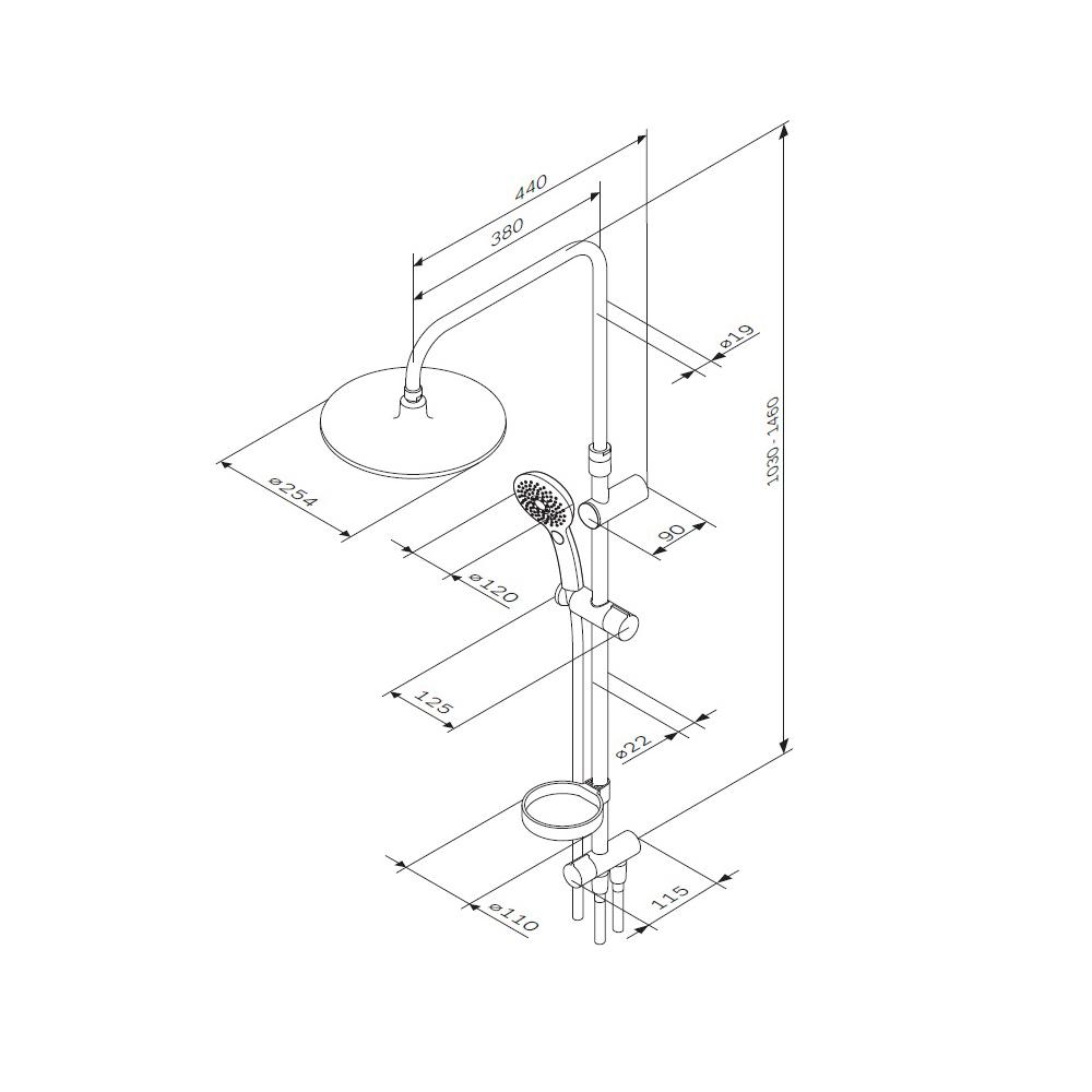 F0750A100 Inspire V2.0 душ.система, набор: верхн.душ d 250 мм, ручн.душ 3 ф-ции d 120 мм, переключат