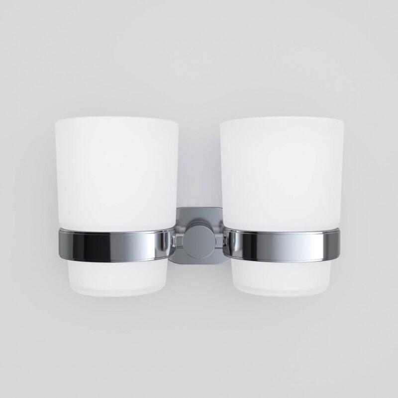 A74343400 Sense L, Двойной стеклянный стакан с настенным держателем, хром