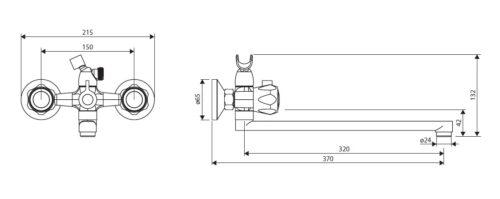 D7095000 Modern двухзахватный смеситель для ванны и душа с универсальным изливом и душевым набором
