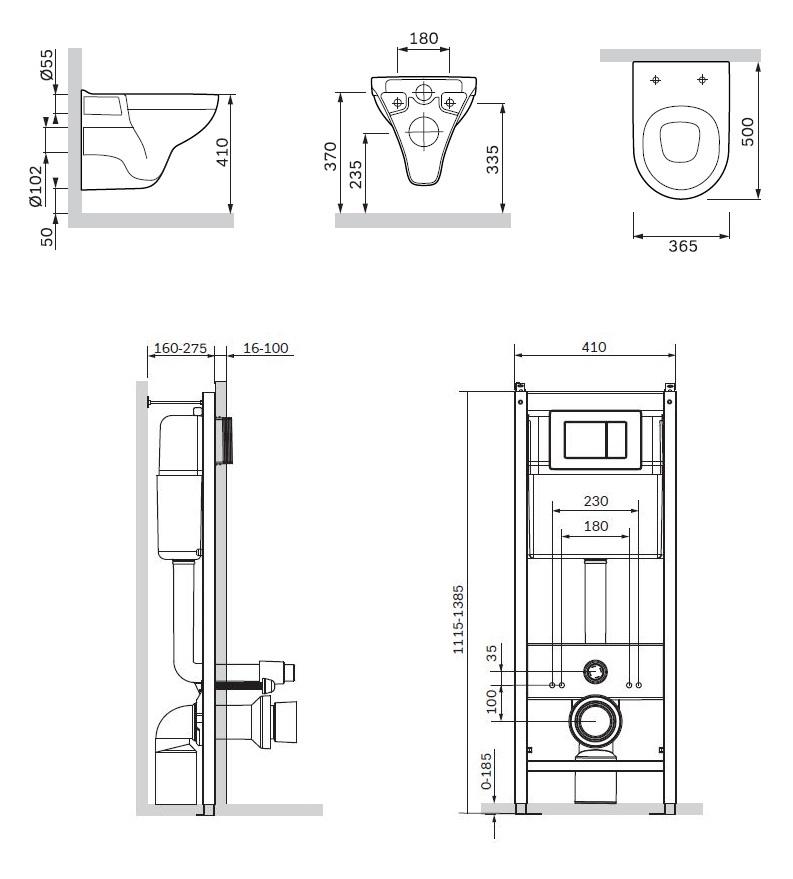 IS301.901738 Комплект инсталляция с клав белый с подвесным унитазом Gem с сид м/лифт
