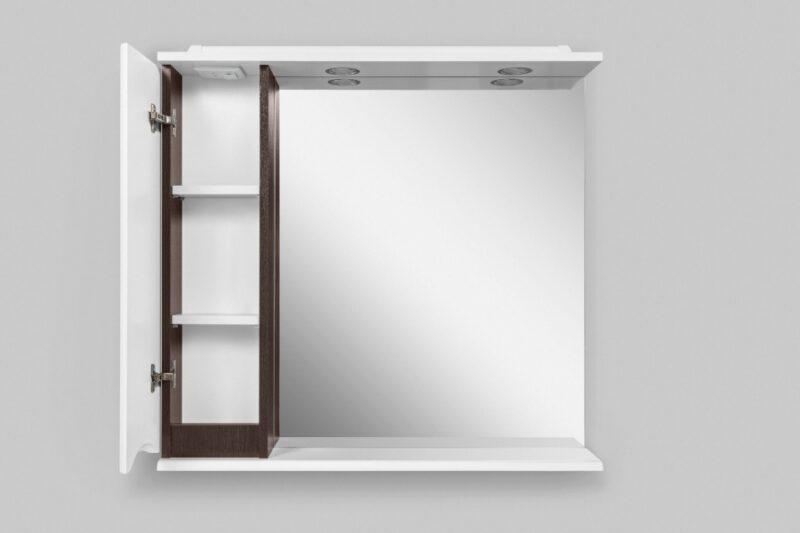 M80MPL0801VF Like, зеркало, частично-зеркальный шкаф, 80 см, с подсветкой, левый, венге, текстуриров