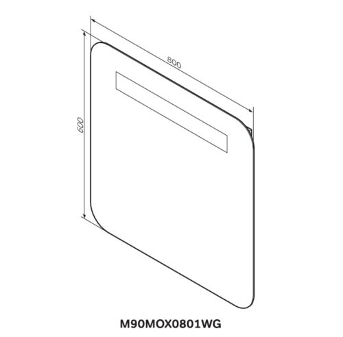 M90MOX0801WG GEM Зеркало настенное с LED-подсветкой, 80 см