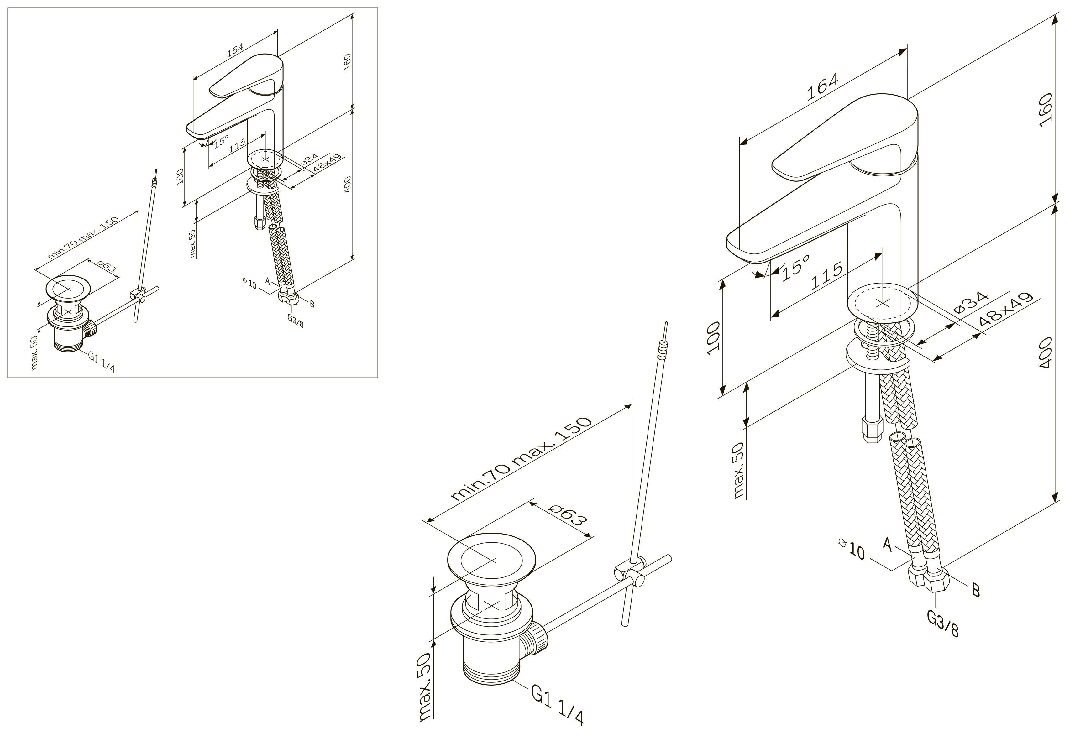 F5004000 Inspire, смеситель д/умывальника с ручн.душем, излив 115 мм, хром, шт