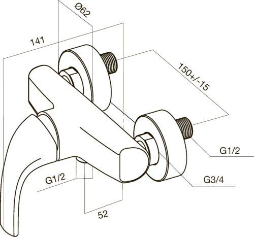 F7520032 Sense, смеситель д/душа, хром, шт