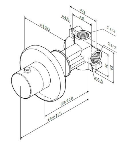 F0800100 Переключатель на три положения, монтируемый в стену, хром, шт.