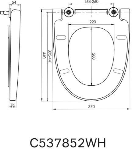 C537852WH Bliss L Сиденье с микролифтом для подвесного унитаза