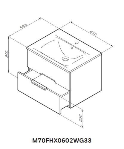 M70FHX0602WG33 SPIRIT, База под раковину подвесная, ящики с доводчиками, 60 см, цвет: бел, гл