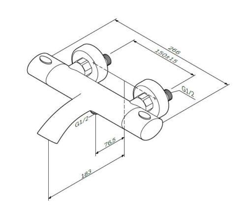 F7550064 Sense, смеситель д/ванны/душа с термостатом, хром, шт