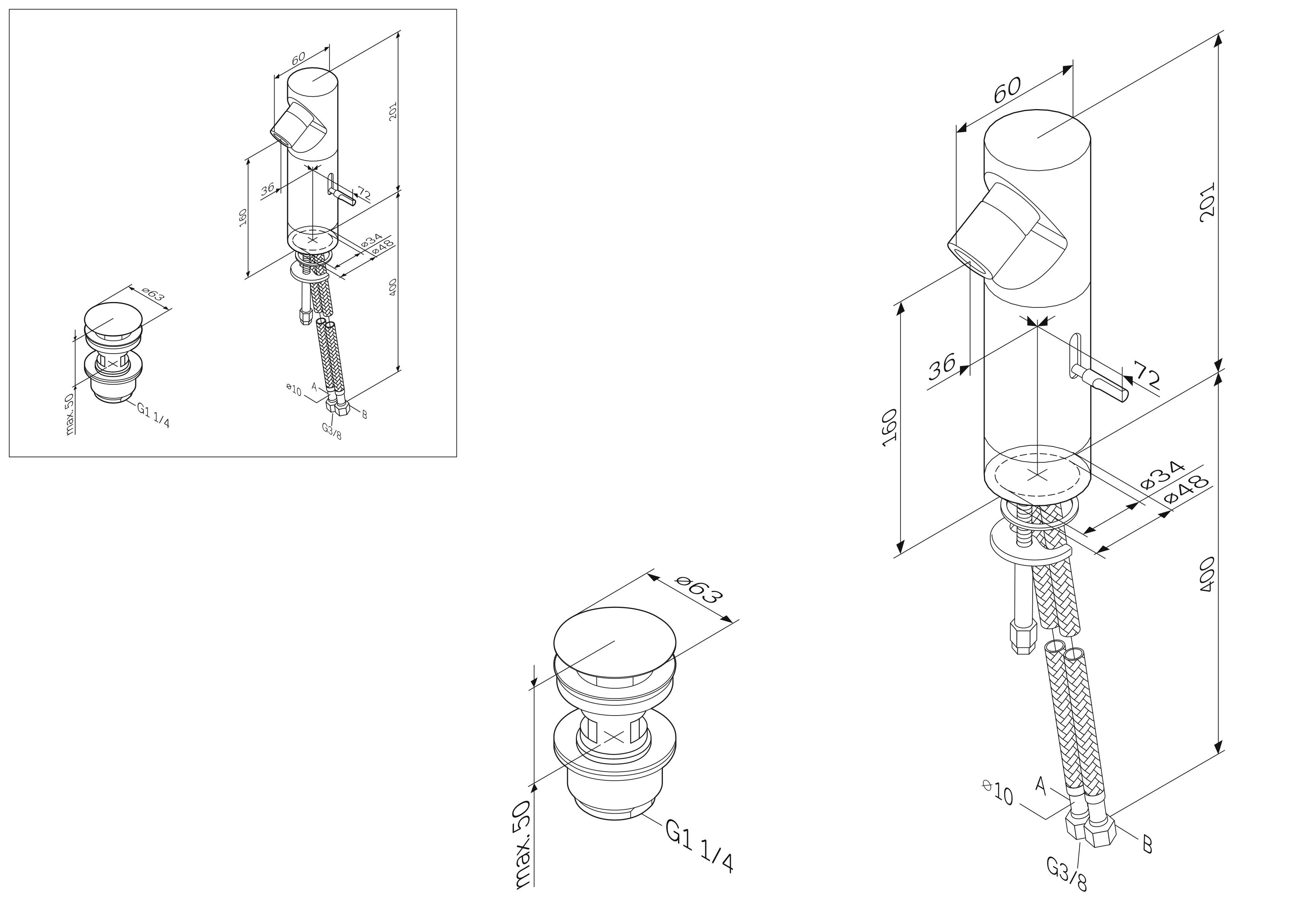 F108310B Admire, смеситель д/биде с д/к, излив 36 мм, хром, шт