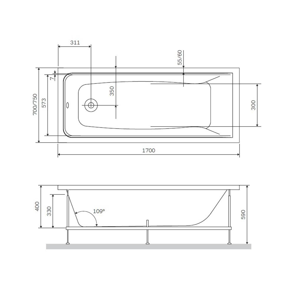 W90A-170-070W-R Gem, каркас в комплекте с монтажным набором 170х70,  см, шт
