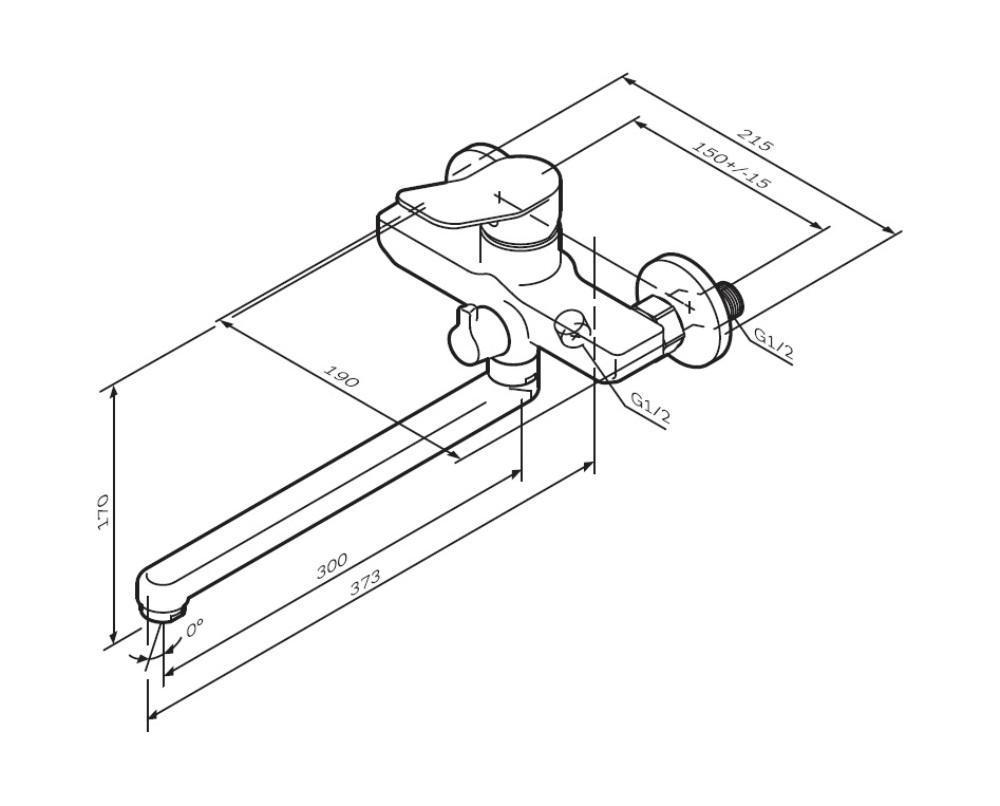 F85A90000 X-Joy, смеситель д/ванны/душа, излив 300 мм, хром, шт