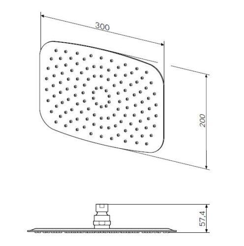 F05S0006 Верхний душ, d 300*200 мм, хром, шт.