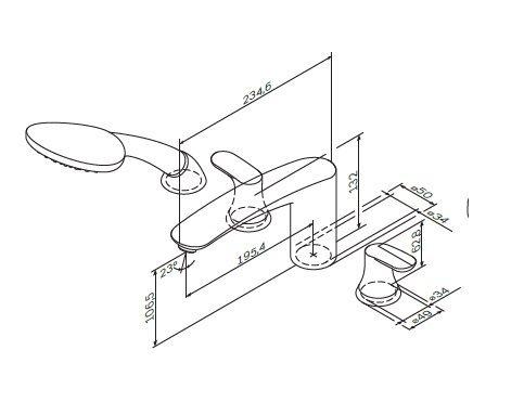 F8001300 Like, смеситель на борт ванны, 4х секционный, хром, шт