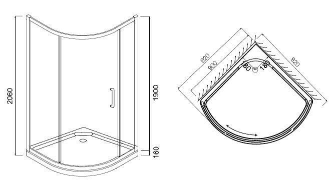 W53G-315-090MG64 BLISS L Solo Slide Стекла для душ.уголок 90x90,профиль матовый хром,стекло тониров.