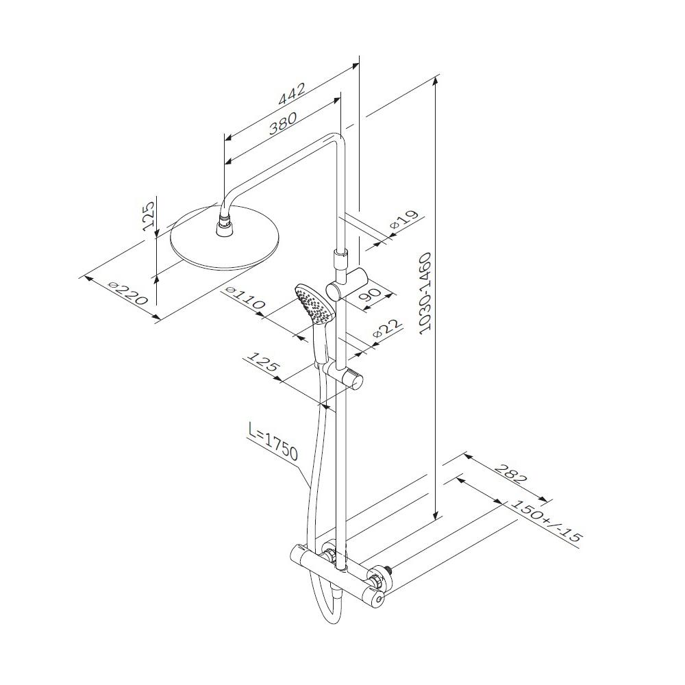 F0790410 Gem душ.система, набор: смеситель д/душа с термостатом, верхн. душ d 220 мм, ручн.душ 1 ф-ц