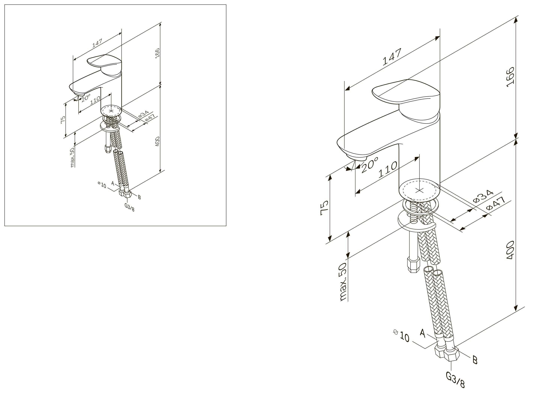 F8093016 Like смеситель для умывальника, излив 110 мм, хром, шт