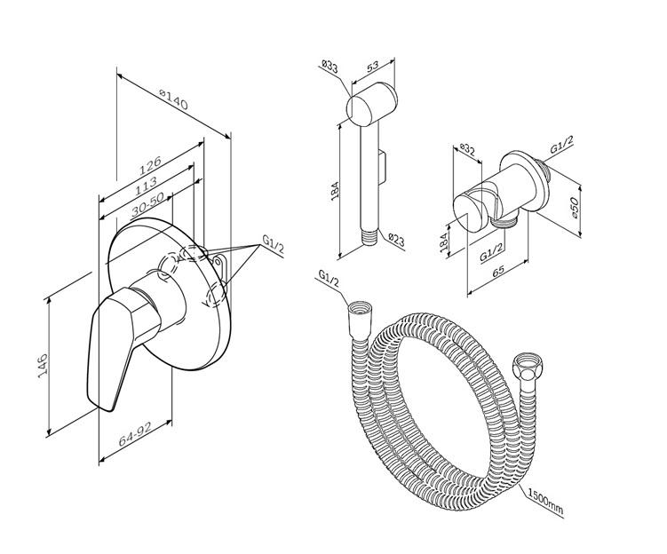 F40H9000 Gem, гигиенический набор для скрытого монтажа со смесителем для душа
