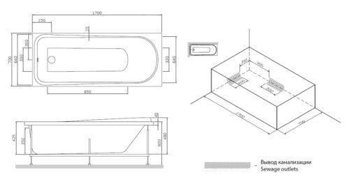W80A-170-070W-P Like, панель фронтальная для ванны Like A0 170х70 см, шт