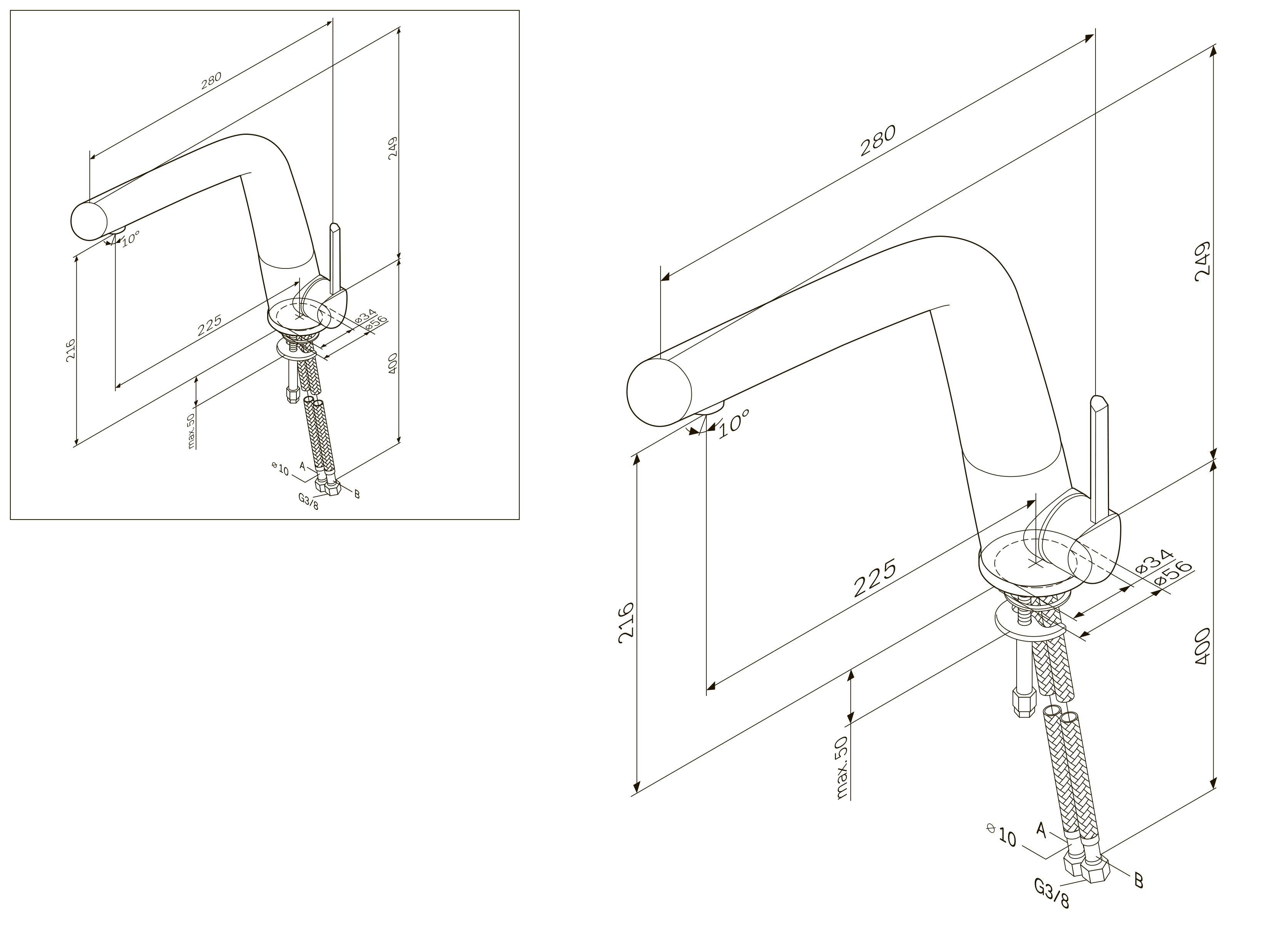F1500000 Awe, смеситель д/кухни, излив 223 мм, хром, шт