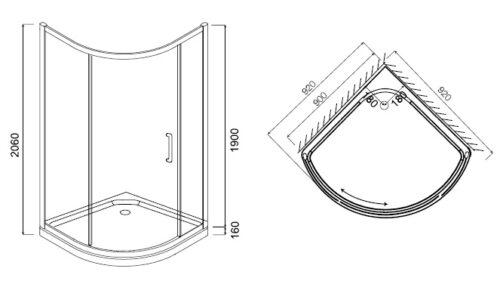 W53G-315-090MT64 BLISS L Solo Slide. Стекла для душ.уголок, 90x90, профиль матовый хром, стекло проз