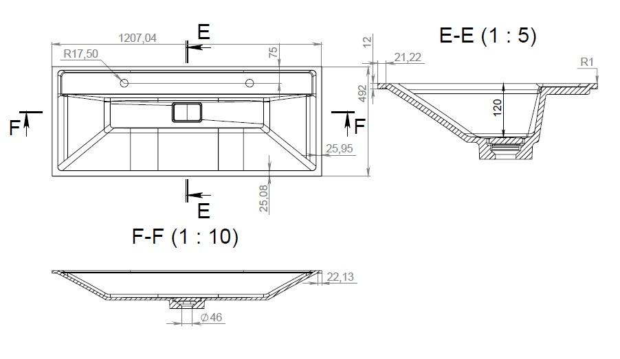 M50AWPX1201WG INSPIRE V2.0, раковина мебельная , искусственный мрамор, со сливом-переливом, 120 см