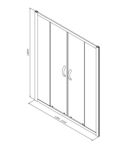 W53S-1402190MT BLISS L Twin Душ.дверь 140x190, с двумя дверями, профиль матовый хром, стекло прозрач