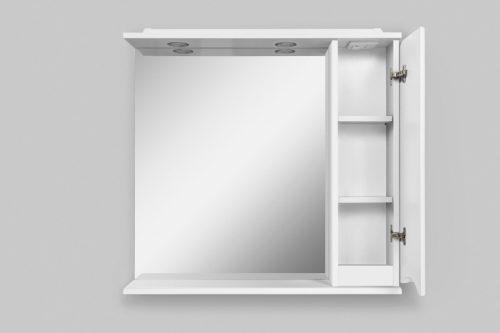 M80MPR0801WG Like, зеркало, частично-зеркальный шкаф, 80 см, с подсветкой, правый, белый, глянец, шт