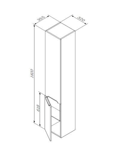 M70CHL0326WG SPIRIT, Шкаф-колонна подвесной, левый, без корзины, двери с доводчиками, 32 см, белый