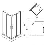 W53G-303-090MT BLISS L Square Slide. Стекла для душ.уголок, 90x90, профиль матовый хром, стекло про