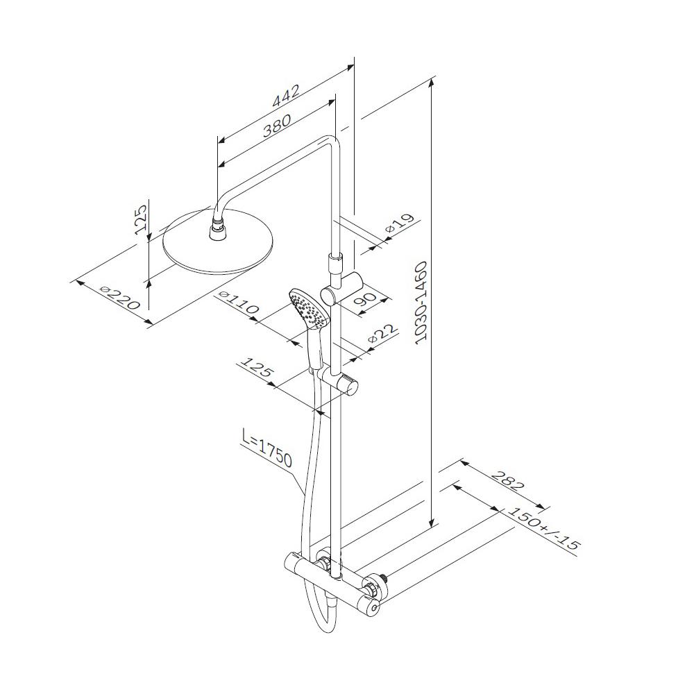 F0790420 Gem душ.система, набор: смеситель д/душа с термостатом, верхн. душ d 220 мм, ручн.душ 3 ф-ц