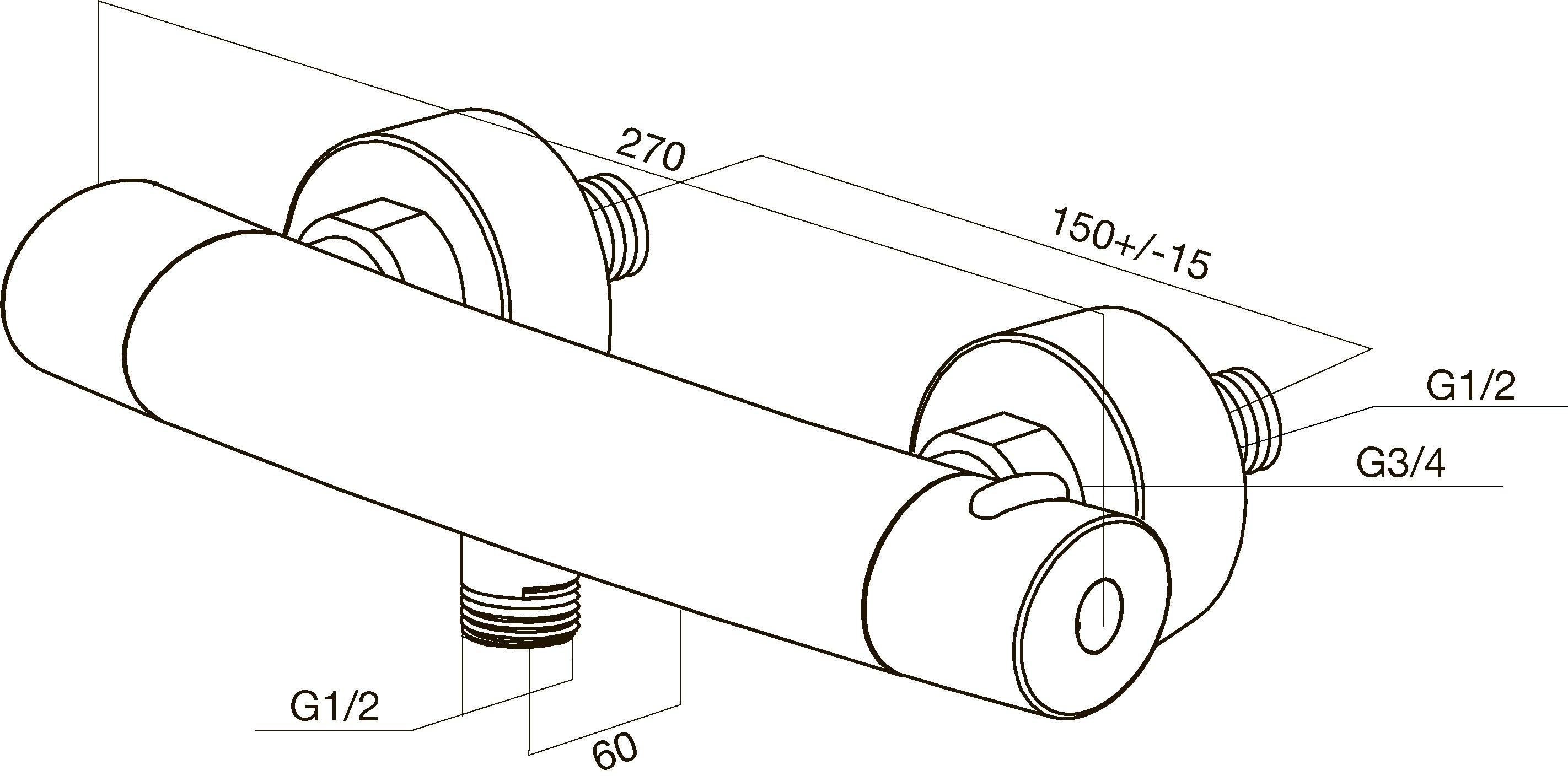 F7540064 Sense, смеситель д/душа с термостатом, хром, шт