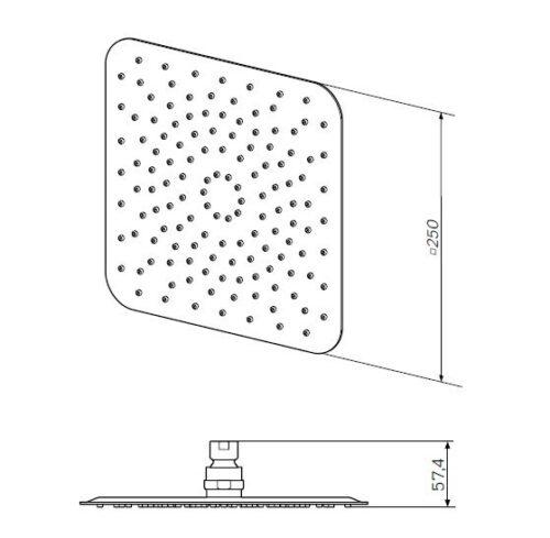 F05S0002 Верхний душ, d 250*250 мм, хром, шт.