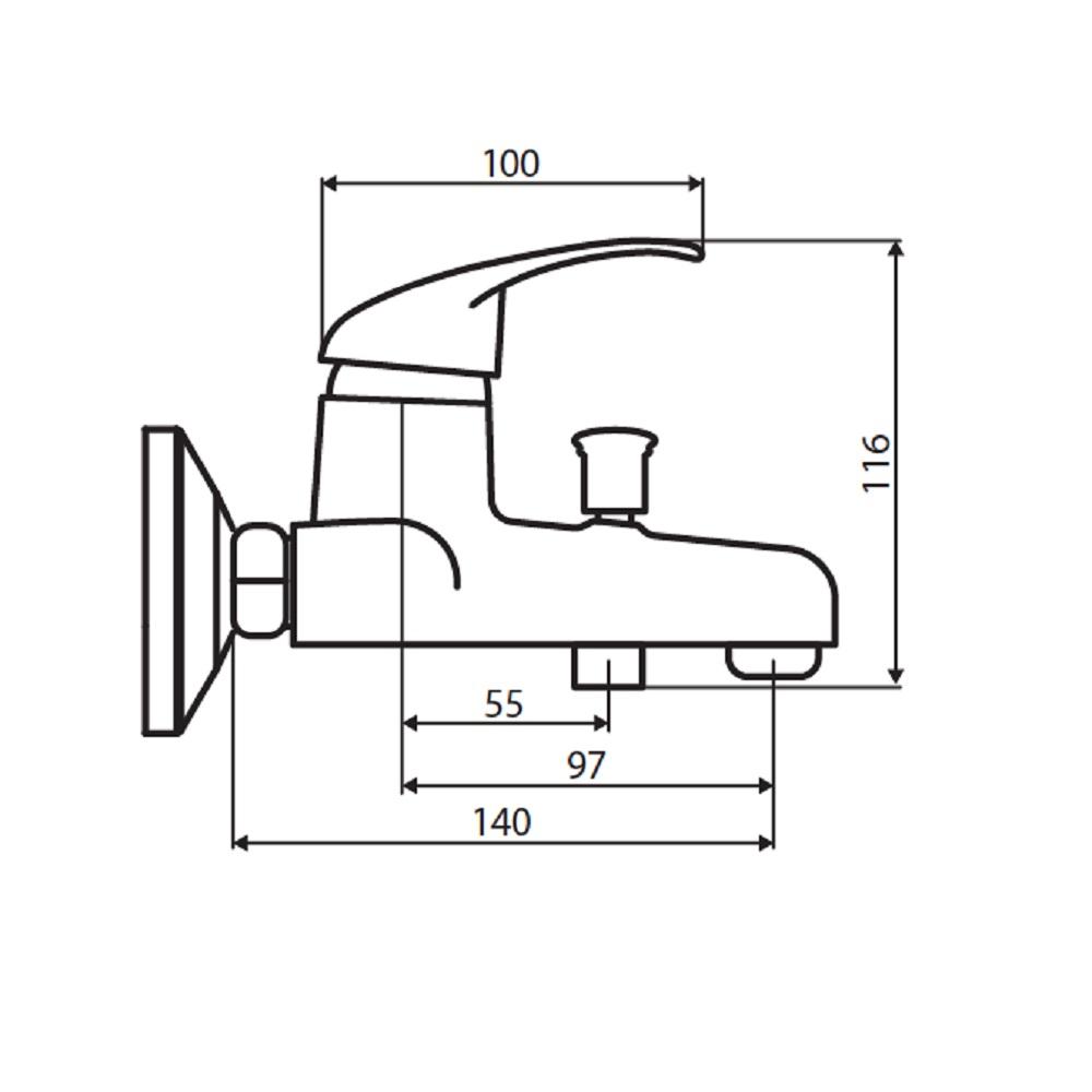 D8010000BL Comfort смеситель для ванны, материал полимер, цвет черный