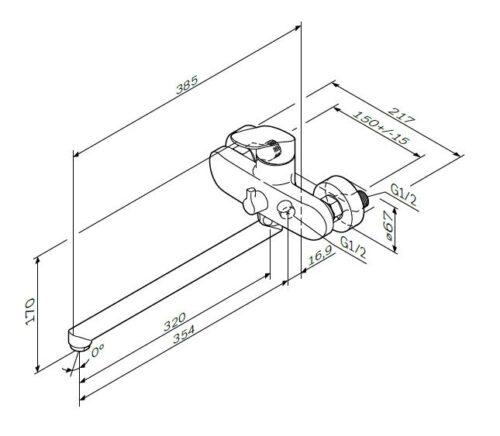 F8090016 Like, смеситель д/ванны/душа, излив 350 мм, хром, шт
