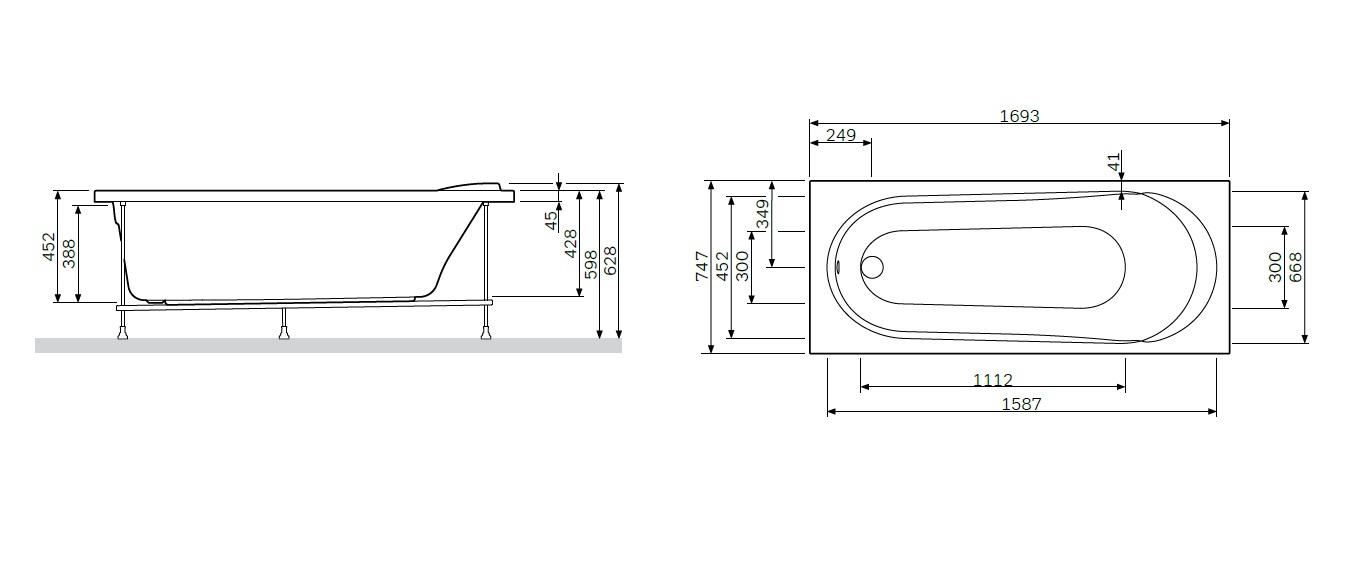W85A-170-075W-P Joy, панель фронтальная для ванны 170*75