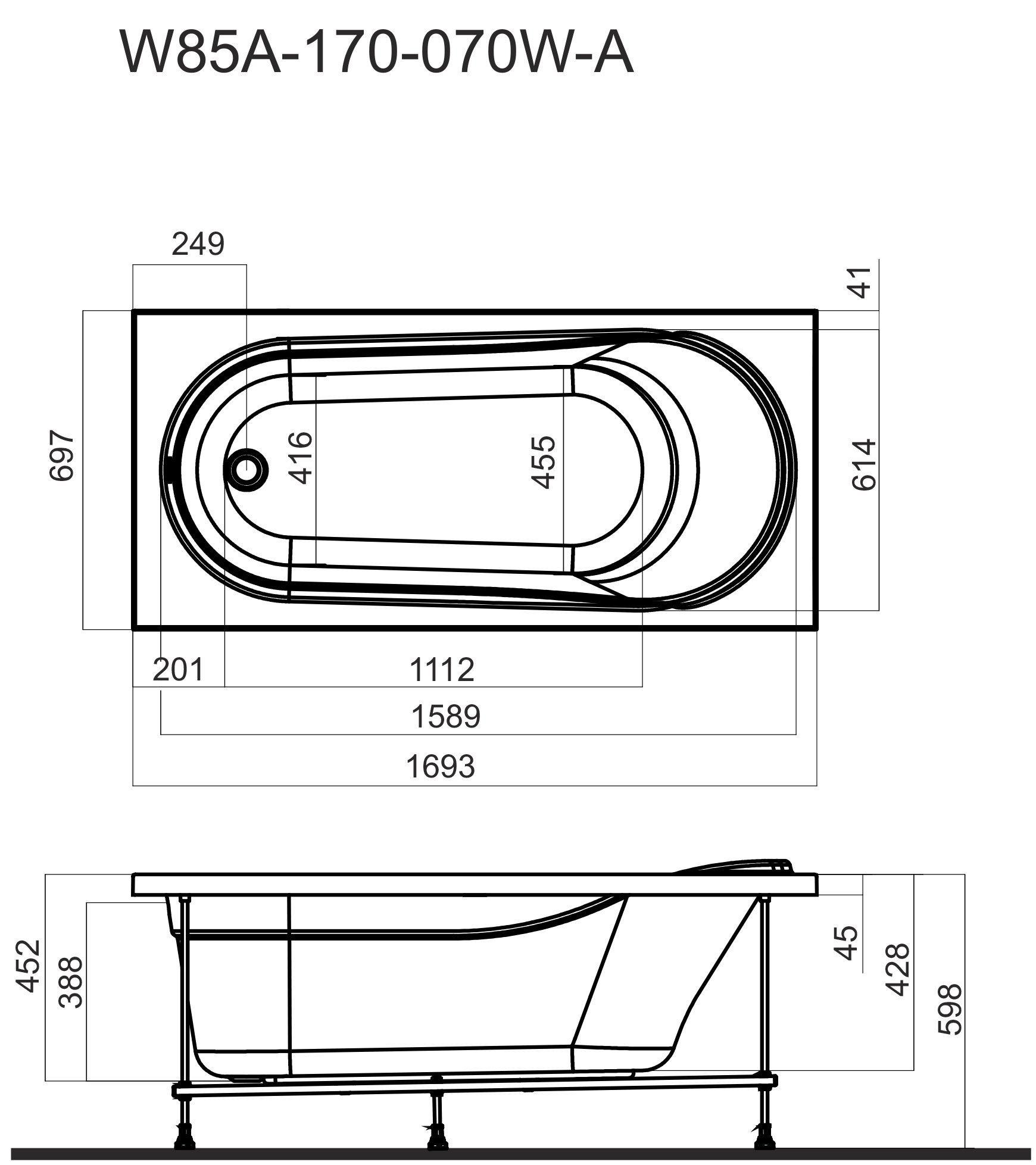 W85A-170-070W-S Joy, панель боковая  (универсальная) для ванн Joy/Spirit/Like, 70 см