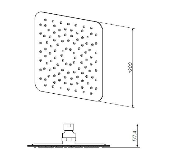 F05S0001 Верхний душ, d 200*200 мм, хром, шт.
