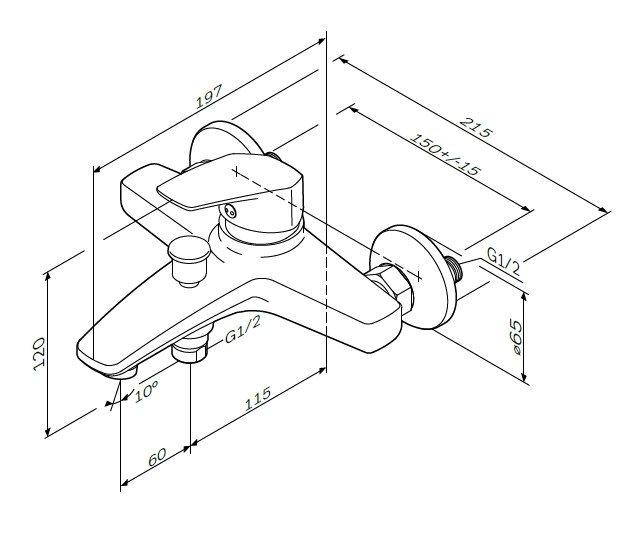 F9010000 Gem, смеситель для ванны и душа излив 175 мм, хром, шт