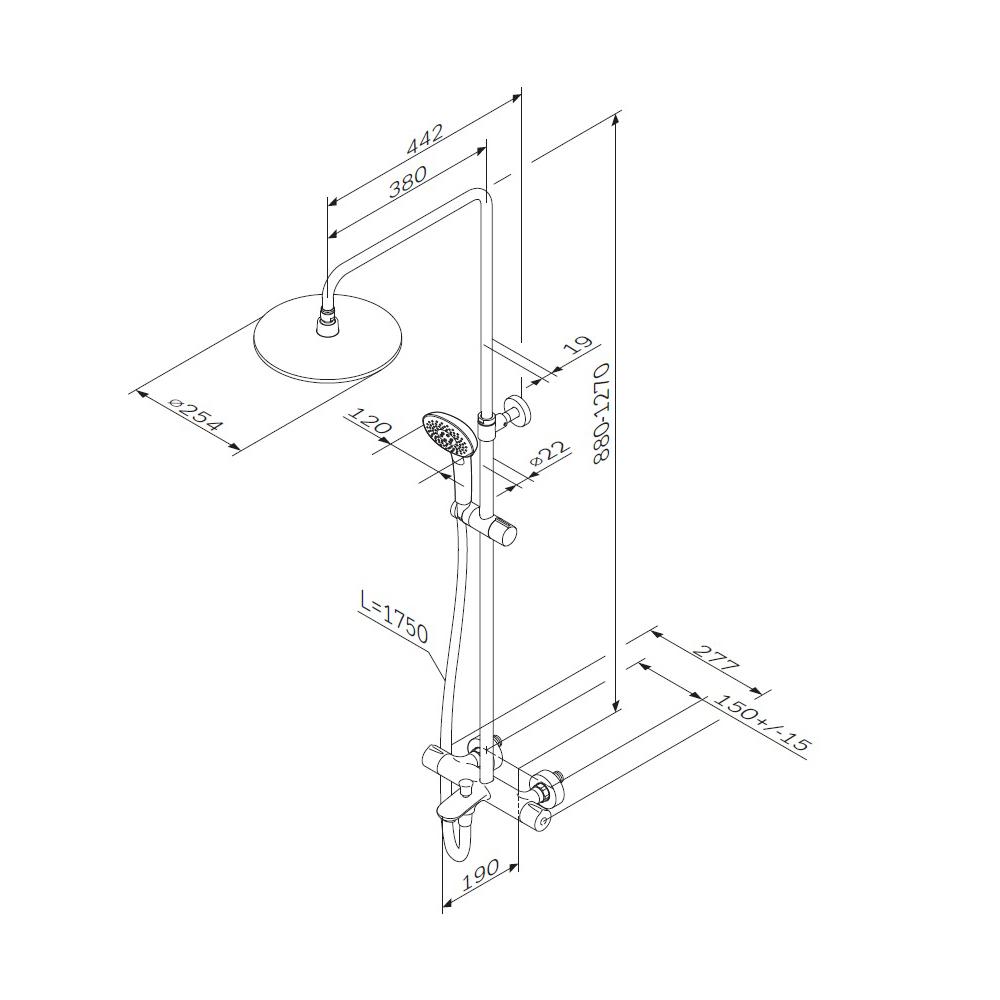 F0770A510 Spirit V2.0 душ.система, набор: смеситель д/ванны/душа с термостатом, верхн. душ d 250 мм,