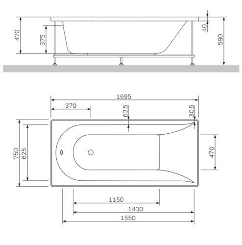 W5AA-170-075W-S64 Inspire  боковая панель для ванны Inspire  170*75 A0
