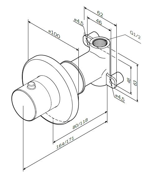 F0800200 Запирающий вентиль, монтируемый в стену, хром, шт.
