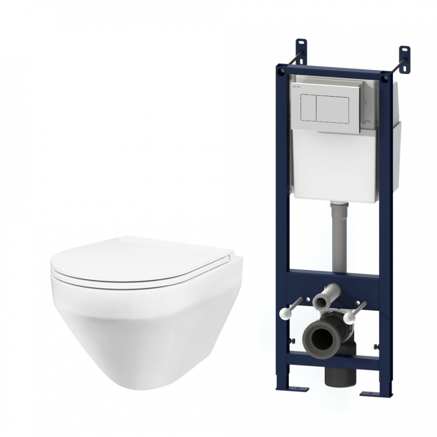 IS301.701700 Комплект инсталляция с клав белый с подвесным унитазом Spirit FlashClean с сид м/лифт