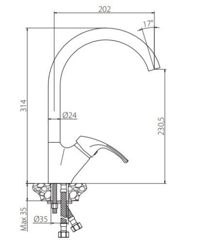 410700000 Palace One, смеситель для кухни с высоким изливом, излив  196 мм, шт