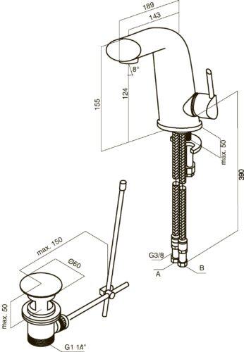 F1582100 Awe, смеситель д/умывальника с д/к, излив 143 мм, хром, шт