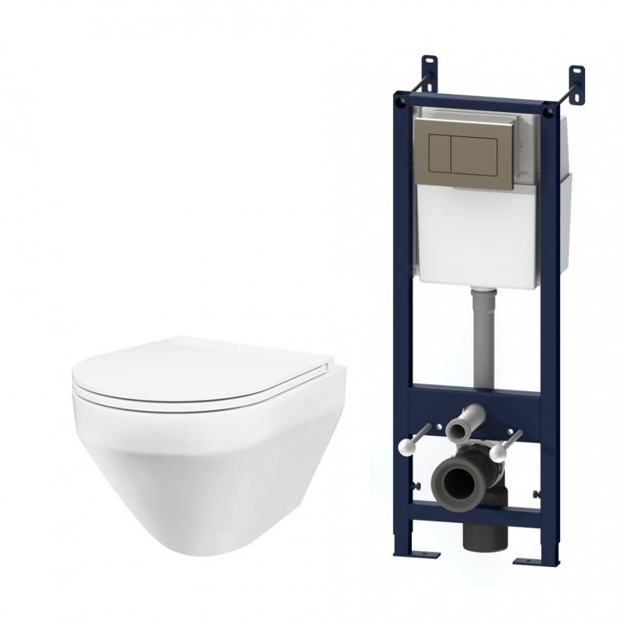 IS3701700 Комплект инсталляция с клав глянц хром с подвесным унитазом Spirit FlashClean с сид м/лифт