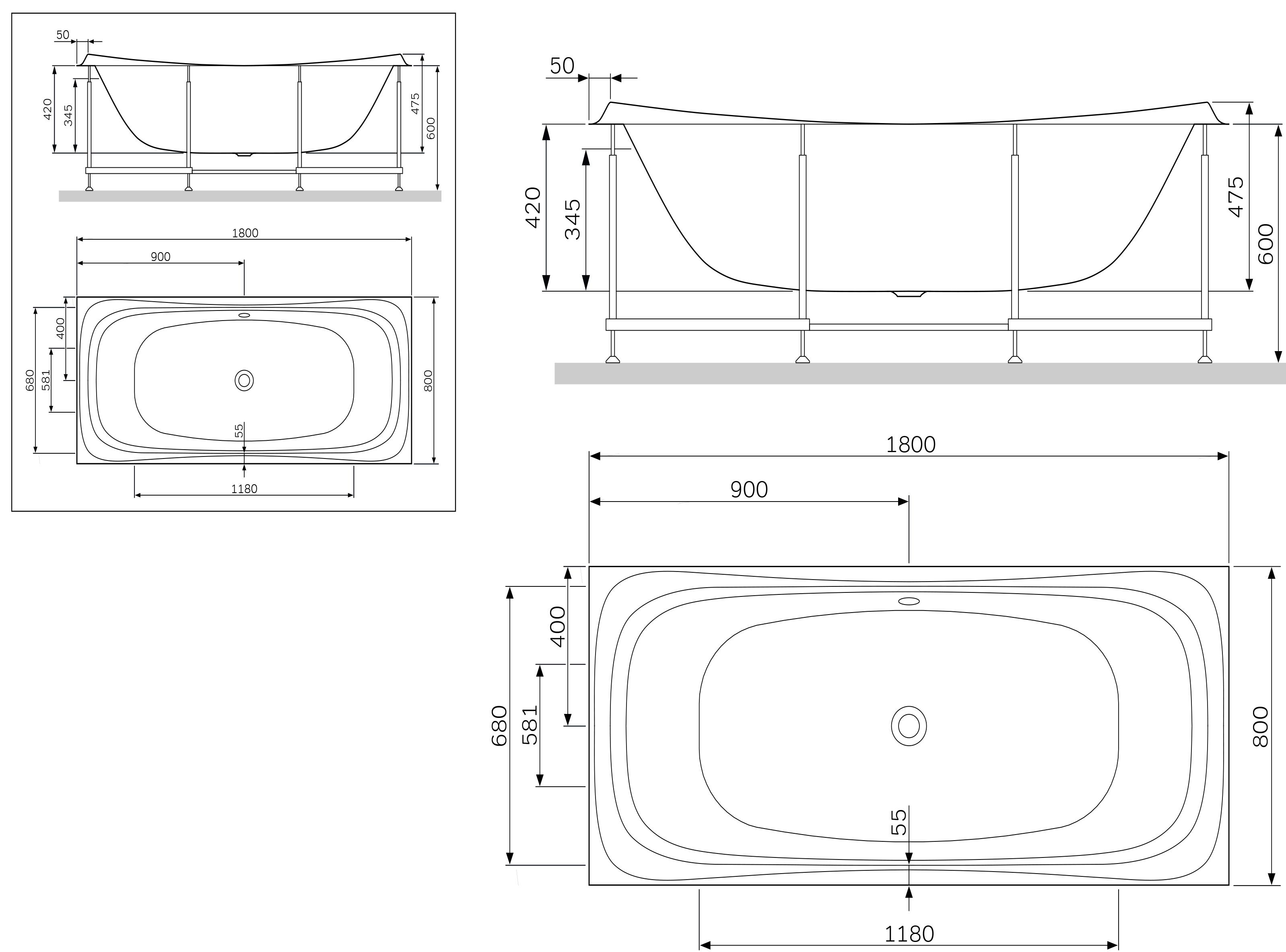 W30A-180-080W-R Sensation, каркас для ванны акриловой A0 180х80 см