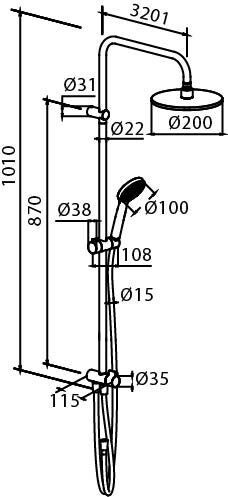 978100000 Origin One, душ. система: верх. душ 200 мм, ручн. душ d-100 мм, 1 режим, переключатель